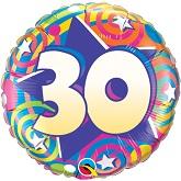 "18""  30th Birthday Stars & Swirls Balloon"