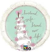 """18"""" Wedding Cake Happy Couple Balloon"""