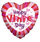 "18"" Happy Valentine's Day Hearts & Lines"