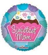 "36"" Sweetest Mom Cupcake Mylar Balloon"