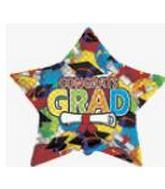 "36"" Star Balloon Diploma Caps"