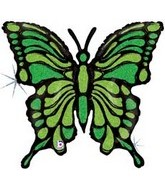 """33"""" Holographic Lime Green Butterfly Balloon"""