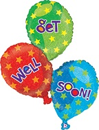 """40"""" Get Well Balloon Trio Holographic"""