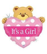 "37"" Baby Girl Big with Bear Heart Balloon"