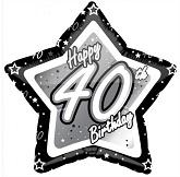 "18"" Happy Birthday 40th Black and Silver Star"