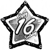 """18"""" HB 16th Black and Silver Star"""