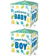 "15"" Cubez Baby Boy Chevron & Icons Balloon"