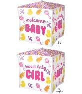 """15"""" Cubez Baby Girl Chevron & Icons Balloon"""