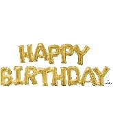 "Airfill Phrase ""HAPPY BIRTHDAY"" Gold Balloon"
