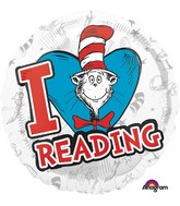 """18"""" Dr. Seuss Hats Off to Reading Balloon"""