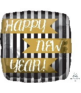 "18"" Happy New Years Vertical Stripes Balloon"