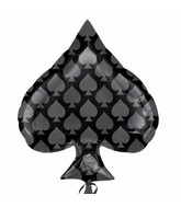 "18"" Black Spade SuperShape Balloon"