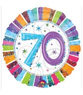 """18"""" Holographic Radiant Birthday 70 Balloon Packaged"""