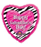 """32"""" SuperShape Doo-Dads Zebra Valentine's Day Balloon"""