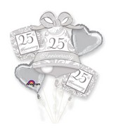 Silver Scroll 25th Anniversary Balloon Bouquet