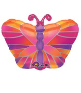 Junior Shape Hot Pink Butterfly Balloon Packaged