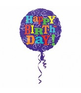 "21"" Happy Birthday Streamers Mylar Balloon"