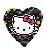 "18"" Hello Kitty Happy Birthday Black Heart"