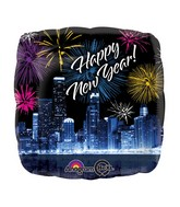 "18"" New Years Skyline & Fireworks Balloon"