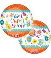 Get Well Floral Butterflies Orbz Balloons