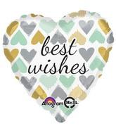 "18"" Metallic Hearts Best Wishes Mylar Balloon"