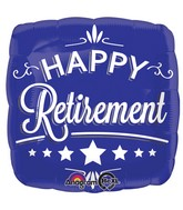 "18"" Happy Retirement Blue Square Balloon"