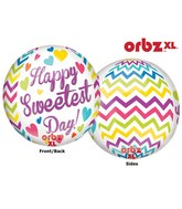 "16"" Orbz Sweetest Day Chevron Balloon Packaged"