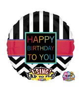 """28"""" Singing Chevron Happy Birthday To You Balloon Packaged"""