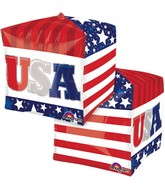 "15"" Cubez Patriotic Cube Balloon Packaged"