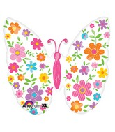 """25"""" SuperShape Floral Butterfly Balloon"""