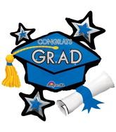 "31"" SuperShape Congrats Grad Blue Cluster Balloon"