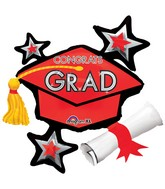 """31"""" SuperShape Congrats Grad Red Cluster Balloon"""