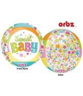 "16"" Orbz Multi-Film Sweet Baby Moon Balloon Packaged"
