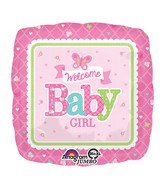 """28"""" Jumbo Welcome Baby Girl Butterfly Balloon Packaged"""