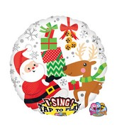 "28"" Jumbo Sing-A-Tune Santa and Reindeer Packaged"