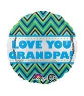 "18"" Love You Grandpa Chevron Balloon"