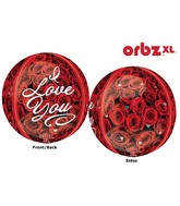 """16"""" Orbz I Love You Roses Balloon Packaged"""