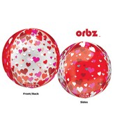 """16"""" Orbz Multi-Film Floating Hearts Balloon Packaged"""