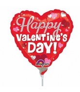 "9"" Airfill Only Happy Silver Valentine's Day Balloon"