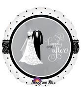 "18"" Black & White Wedding Mylar Balloon"