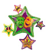 "35"" Masquerade Star Cluster Balloon Packaged"