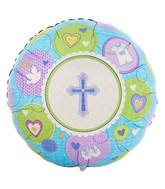 "18"" Sweet Christening Boy Mylar Balloon"