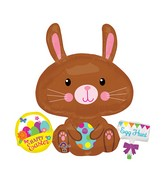 "29"" Jumbo Easter Bunny with Spotted Egg Balloon"