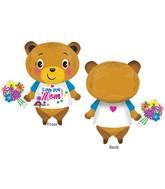 """29"""" Jumbo Love You Mom Bear with Flowers Balloon"""