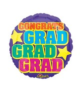 """18"""" Junior Shape Grad, Grad, Grad Balloon"""