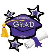 """31"""" Jumbo Congrats Grad Purple Cluster Balloon"""