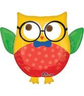 "30"" Jumbo Hip Hip Hooray Grad Owl Balloon Packaged"