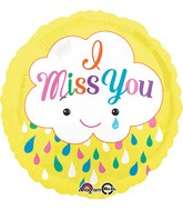 "18"" Miss You Cloud Balloon Packaged"
