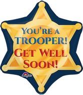 """21"""" Trooper Badge Get Well Soon Balloon"""