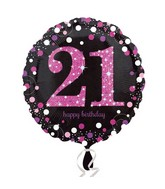 """18"""" Pink Celebration 21 Balloon Packaged"""